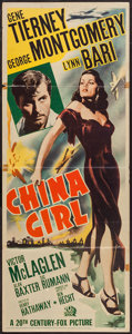 "Movie Posters:War, China Girl (20th Century Fox, 1942). Insert (14"" X 36""). War.. ..."