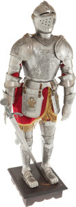 Antiques:Antiquities, An Etched Miniature Suit of Armor in the German 16th CenturyStyle....