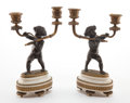 Decorative Arts, French:Other , A PAIR OF FRENCH GILT AND PATINATED BRONZE AND MARBLE TWO-LIGHTFIGURAL CANDELABRA . Circa 1875. 10-1/8 inches high (25.7 cm...(Total: 2 Items)