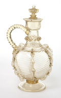 Decorative Arts, Continental:Other , A GERMAN GLASS COVERED JUG . 19th century. 9 inches high (22.9 cm).... (Total: 2 Items)