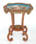 Furniture : French, A FRENCH MAHOGANY, GILT BRONZE AND PORCELAIN TABLE . Circa 1900. 28x 23 x 19-1/2 inches (71.1 x 58.4 x 49.5 cm). ...