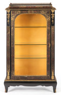 Furniture : French, A FRENCH EBONIZED WOOD, BRASS AND FAUX TORTOISESHELL MARQUETRYVITRINE. Circa 1900. 57 x 33-1/4 x 14 inches (144.8 x 84.5 x...