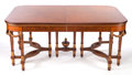 Furniture : French, A NEOCLASSICAL WALNUT DINING TABLE WITH LEAVES AND PAD . Circa1930. 29-3/4 x 69 x 46 inches (75.6 x 175.3 x 116.8 cm) (with...(Total: 7 Items)