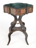 Furniture , A FRENCH EBONIZED WOOD, LACQUER AND BRASS INLAID JARDINERE . Circa 1880. 31-1/4 x 21-1/4 x 15-1/2 inches (79.4 x 54.0 x 39.4...
