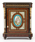 Furniture : French, A FRENCH EBONIZED WOOD, BURL WALNUT AND PORCELAIN CABINET . Circa1900. 43-3/4 x 35-1/2 x 17-1/4 inches (111.1 x 90.2 x 43.8...
