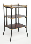 Furniture , A FRENCH-STYLE GILT BRONZE MOUNTED, EBONIZED WOOD, BRASS, FAUX PAINTED TORTOISESHELL AND MARQUETRY SIDE TABLE . Circa 1900. ...