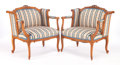 Furniture : French, A PAIR OF LOUIS XV-STYLE CARVED AND UPHOLSTERED WALNUT ARMCHAIRS .Circa 1930. 30-1/4 x 29 x 22 inches (76.8 x 73.7 x 55.9 c...(Total: 2 Items)