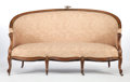 Furniture : French, A LOUIS XV-STYLE UPHOLSTERED PARTIAL GILT WALNUT SETTEE WITH GILTBRONZE MOUNTS . Circa 1930. 42 x 68 x 29 inches (106.7 x 1...