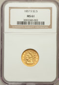 Liberty Quarter Eagles: , 1857-S $2 1/2 MS61 NGC. NGC Census: (13/6). PCGS Population (3/6).Mintage: 69,200. Numismedia Wsl. Price for problem free ...