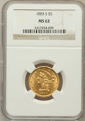 Liberty Half Eagles: , 1883-S $5 MS62 NGC. NGC Census: (35/25). PCGS Population (50/33).Mintage: 83,200. Numismedia Wsl. Price for problem free N...