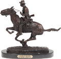 """Military & Patriotic:Indian Wars, Frederick Remington's """"Trooper of the Plains"""" Bronze Statue Reproduction. ..."""
