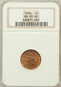 Indian Cents: , 1876 1C MS65 Red NGC. NGC Census: (12/3). PCGS Population (35/14).Mintage: 7,944,000. Numismedia Wsl. Price for problem fr...