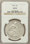 Seated Dollars: , 1872 $1 AU50 NGC. NGC Census: (27/209). PCGS Population (61/218).Mintage: 1,106,450. Numismedia Wsl. Price for problem fre...