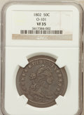 Early Half Dollars, 1802 50C VF35 NGC. O-101. NGC Census: (9/775). PCGS Population(25/48). Mintage: 29,890. Numismedia Wsl. Price for problem ...