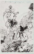 Original Comic Art:Splash Pages, Anthony Castrillo, Mark Pajarillo, Jon Holdredge, and Marlo AlquizaX-Force #64 Splash Page 1 Original Art (Marvel...