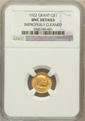 Commemorative Gold, 1922 G$1 Grant No Star--Improperly Cleaned-- NGC Details. UNC. NGCCensus: (2/1159). PCGS Population (8/1940). Mintage: 5,0...