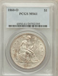 Seated Dollars: , 1860-O $1 MS61 PCGS. PCGS Population (231/308). NGC Census:(131/241). Mintage: 515,000. Numismedia Wsl. Price for problem ...