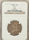 Bust Quarters: , 1824/2 25C Good 4 NGC. B-1. NGC Census: (5/54). PCGS Population(8/125). Mintage: 24,000. Numismedia Wsl. Price for problem...