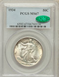Walking Liberty Half Dollars: , 1934 50C MS67 PCGS. CAC. PCGS Population (123/8). NGC Census:(92/9). Mintage: 6,964,000. Numismedia Wsl. Price for problem...