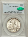 Walking Liberty Half Dollars: , 1937-D 50C MS66 PCGS. CAC. PCGS Population (301/39). NGC Census:(146/33). Mintage: 1,676,000. Numismedia Wsl. Price for pr...