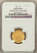 Three Dollar Gold Pieces: , 1855 $3 --Improperly Cleaned-- NGC Details. UNC. NGC Census:(71/881). PCGS Population (128/510). Mintage: 50,555. Numismedi...