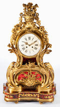 Decorative Arts, French:Other , A LOUIS XV STYLE GILT BRONZE AND TORTOISESHELL MANTLE CLOCK ONSTAND . L. Marti & Cie, Paris, France, circa 1890. Marks:L... (Total: 3 Items)