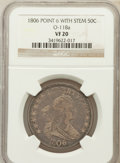 Early Half Dollars, 1806 50C Pointed 6, Stem VF20 NGC. O-118a. NGC Census: (75/1551).PCGS Population (86/708). Mintage: 839,576. Numismedia Ws...