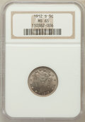 Liberty Nickels: , 1912-S 5C MS65 NGC. NGC Census: (97/6). PCGS Population (157/9).Mintage: 238,000. Numismedia Wsl. Price for problem free N...
