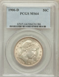 Barber Half Dollars: , 1906-D 50C MS64 PCGS. PCGS Population (58/21). NGC Census: (30/10).Mintage: 4,028,000. Numismedia Wsl. Price for problem f...