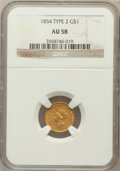 Gold Dollars: , 1854 G$1 Type Two AU58 NGC. NGC Census: (2215/1578). PCGSPopulation (532/1179). Mintage: 783,943. Numismedia Wsl. Pricefo...