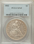 Seated Dollars: , 1842 $1 XF45 PCGS. PCGS Population (120/284). NGC Census: (68/320).Mintage: 184,618. Numismedia Wsl. Price for problem fre...