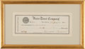 Autographs:U.S. Presidents, Theodore Roosevelt: Signed Bank Check....