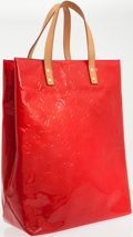 Luxury Accessories:Bags, Louis Vuitton Red Monogram Vernis Leather Lead MM Tote Bag. ...