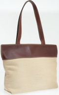 Luxury Accessories:Bags, Chanel Brown Leather and Beige Canvas Tote Bag. ...