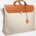 Luxury Accessories:Bags, Hermes Vache Natural and Sand Toile Herbag MM Shoulder Bag. ...(Total: 2 Items)