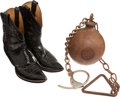 Miscellaneous:Postcards, Pair of Justin Boots Associated with Texas Ranger Captain ClintPeoples and Texas Ranger Marked Leg Irons.... (Total: 2 Items)