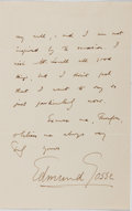 Autographs:Authors, Edmund Gosse, British Writer. Autograph Letter Signed. Two pages on folded single leaf. Board of Trade, S.W. stationary. Nea...