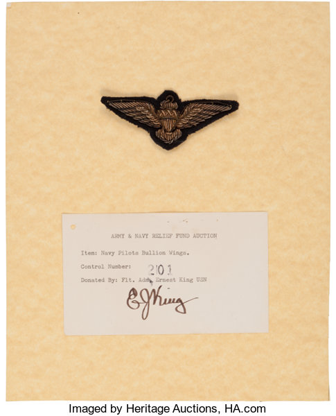 military patrioticwwii fleet admiral ernest kings navy pilot wing with signed card - Pilot Fleet Card
