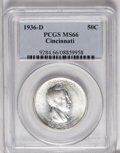 Commemorative Silver: , 1936-D 50C Cincinnati MS66 PCGS. Small patches of brick-red patina dot the otherwise brilliant surfaces. Sharply struck wit...
