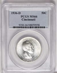 1936-D 50C Cincinnati MS66 PCGS. Small patches of brick-red patina dot the otherwise brilliant surfaces. Sharply struck...