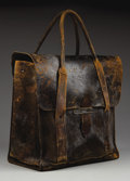 """Western Expansion:Cowboy, LARGE PORTLAND, OREGON BUSINESSMAN'S VALISE - 13"""" tall by 14"""" widewith two pockets and rolled carry straps; well marked """"Ge..."""