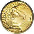 Commemorative Gold: , 1915-S G$1 Panama-Pacific Gold Dollar MS66 PCGS. Orange-redhighlights accent the lustrous surfaces. There is a notable abs...