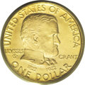 Commemorative Gold: , 1922 G$1 Grant no Star MS64 PCGS. The bright yellow-gold surfacesdisplay no readily visible abrasions, even when the piece...