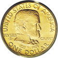 Commemorative Gold: , 1922 G$1 Grant no Star MS66 PCGS. A glowing pale gold Premium Gemwith essentially immaculate surfaces. The strike is bold ...