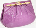 Luxury Accessories:Bags, Judith Leiber Purple Lizard Clutch with Gold Frame Closure andShoulder Strap. ...