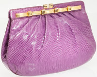 Judith Leiber Purple Lizard Clutch with Gold Frame Closure and Shoulder Strap