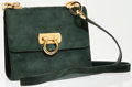 Luxury Accessories:Bags, Ferragamo Green Suede Shoulder Bag with Gold Clasp. ...