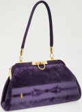 Luxury Accessories:Bags, Roberta di Camerino Purple Velvet Top Handle Bag with GoldHardware. ...