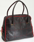 Luxury Accessories:Bags, Dolce & Gabbana Black Leather Top Handle Tote Bag with RedContrast Stitching. ...