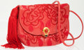 Luxury Accessories:Bags, Judith Leiber Red Lizard Shoulder Bag with Tassel and Cabochon Closure. ...